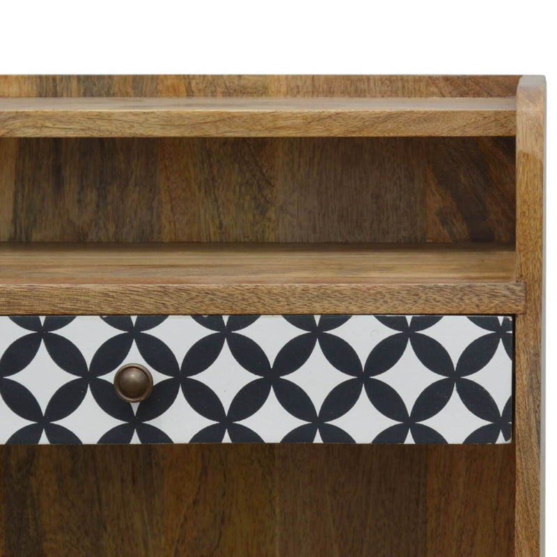 Handcrafted Bedside Table With Screen Printed Drawer - HM_FURNITURE