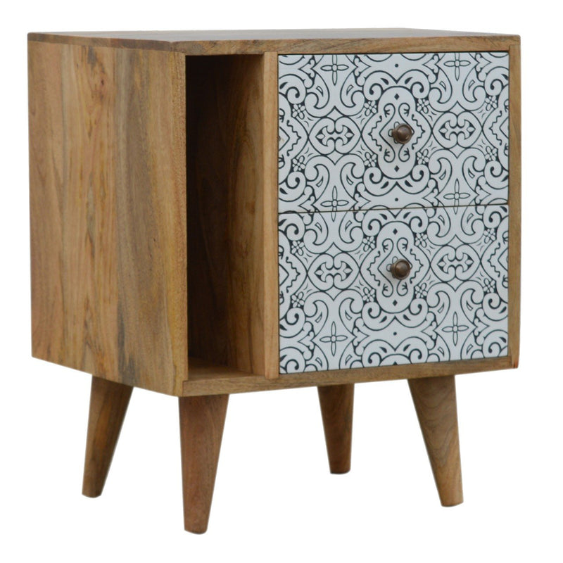 Nordic Style Porcelain Cabinet With 2 Drawers - HM_FURNITURE