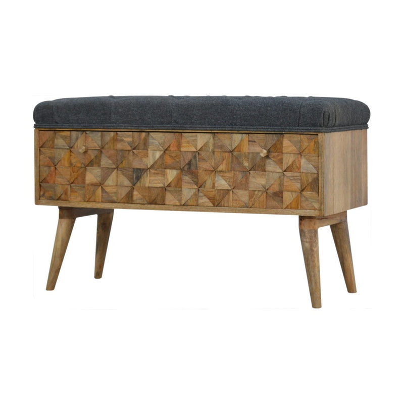 Geometrical Carved Storage Bench With Padded Seat - HM_FURNITURE