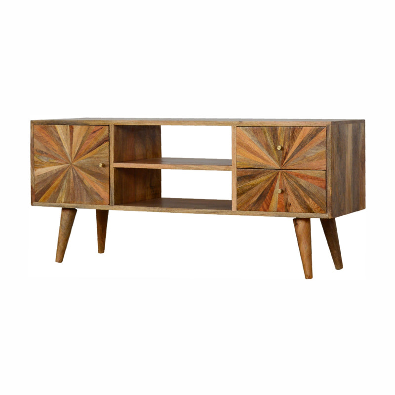 Sunrise 4 Drawers 2 Shelves Media Unit, Oak