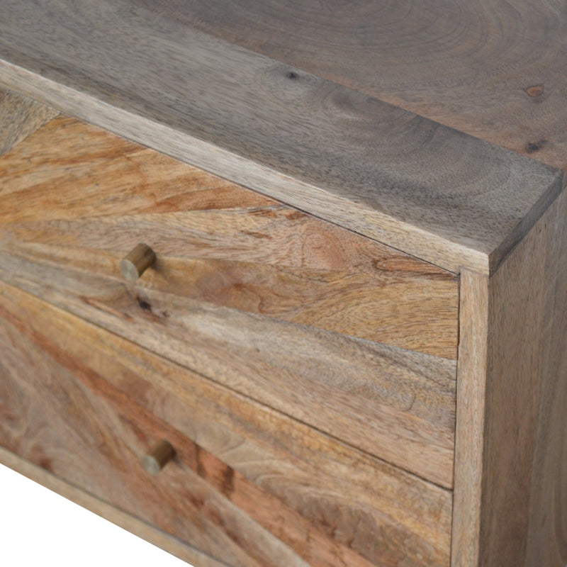 Handcrafted Oak Finish Console Table With 4 Sunrise Carved Drawers