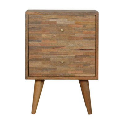 Handcrafted Mixed Bedside With 2 Drawers - HM_FURNITURE