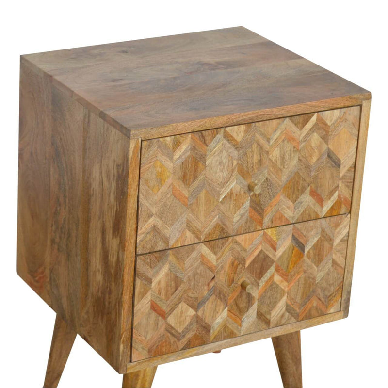 Handcrafted Oak Finish Assorted Bedside Table - HM_FURNITURE