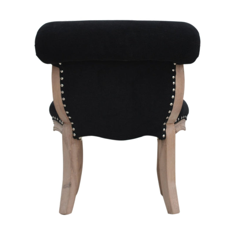 Solid Wood Black Velvet Studded Chair - HM_FURNITURE