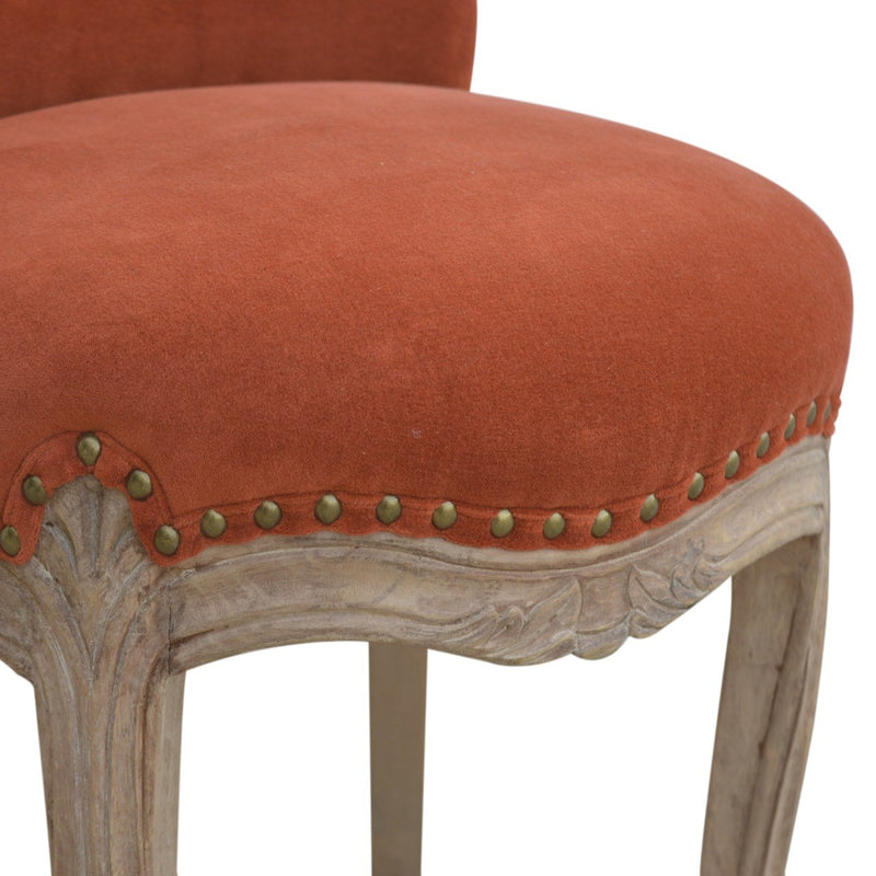 Handcrafted Red Velvet Accent Studded Armchair - HM_FURNITURE