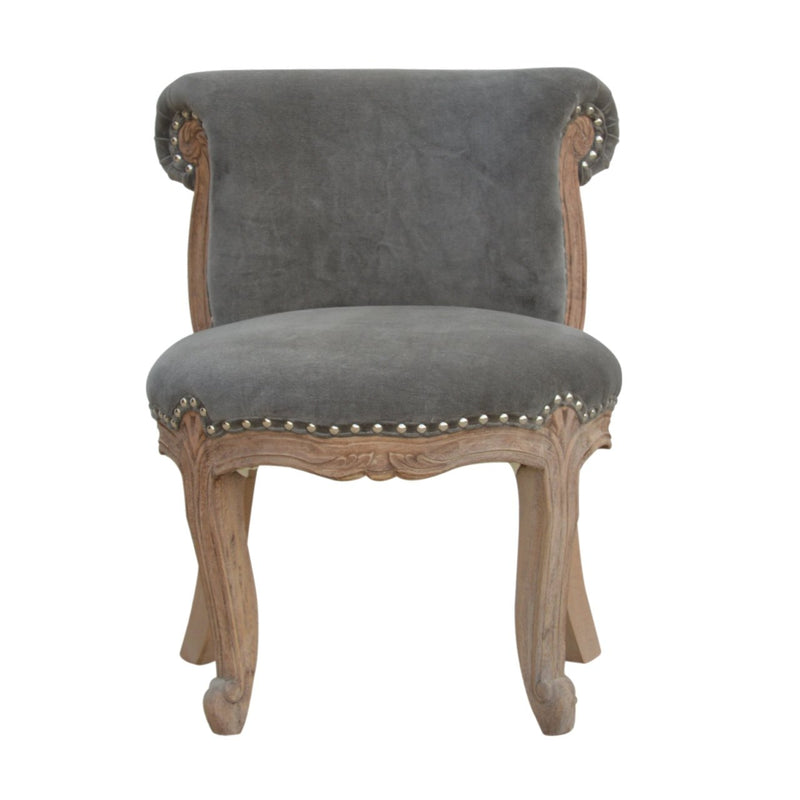 Handcrafted Grey Velvet Accent Studded Chair - HM_FURNITURE