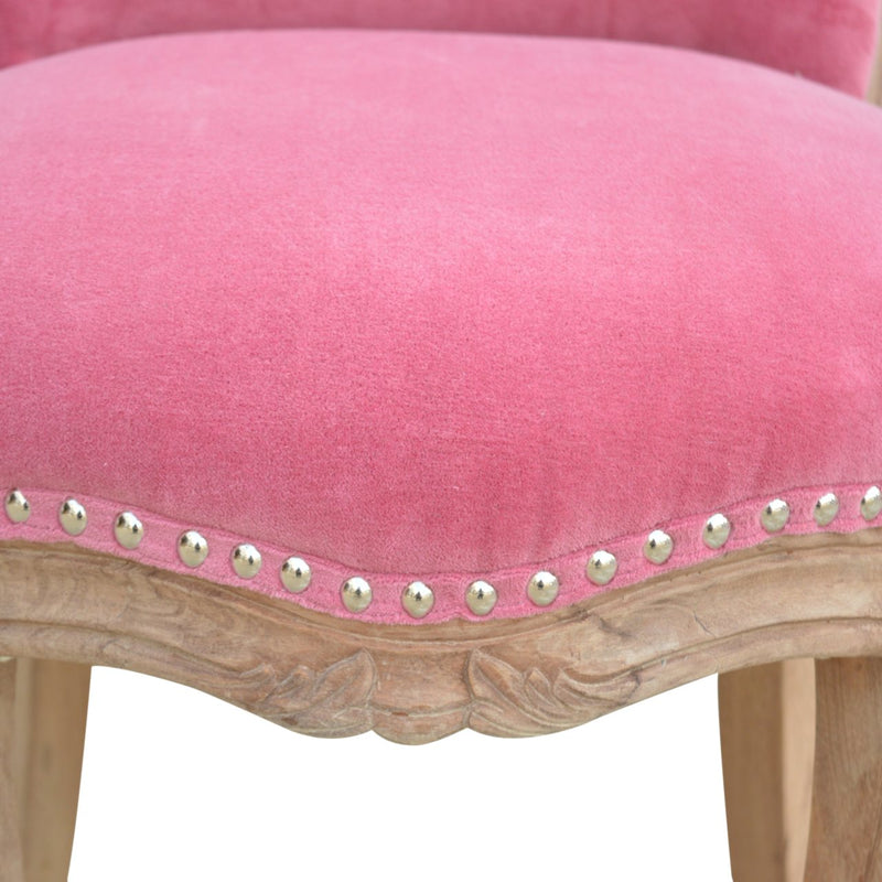 Handcrafted Pink Velvet Accent Studded Chair - HM_FURNITURE