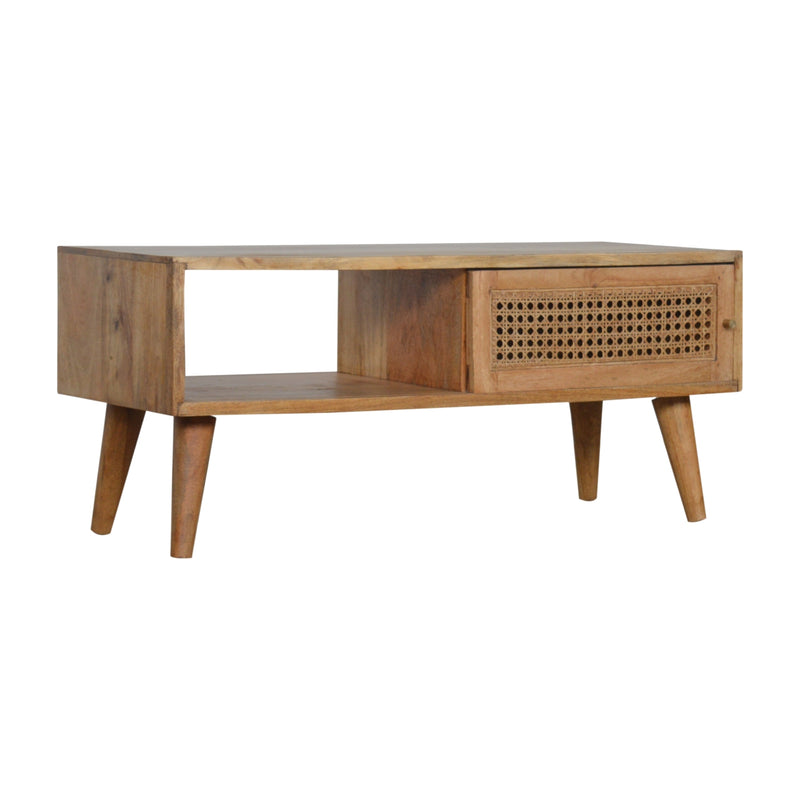 Handcrafted Coffee Table With Rattan Door