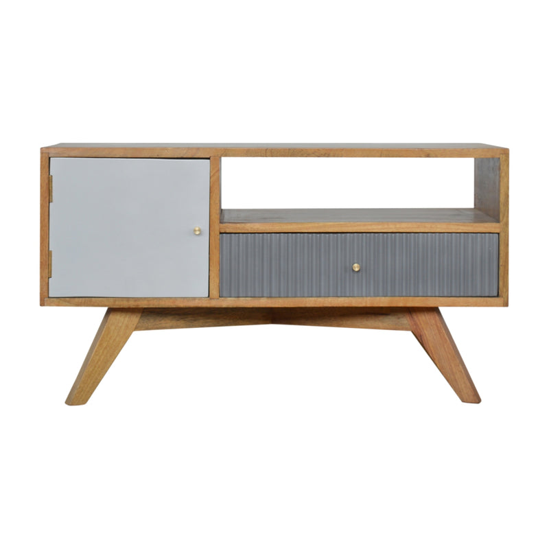 Handcrafted Solid Wood Media Unit With Grey Painted Drawer