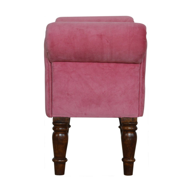 Handcrafted Pink Velvet Bench With Walnut Legs - HM_FURNITURE