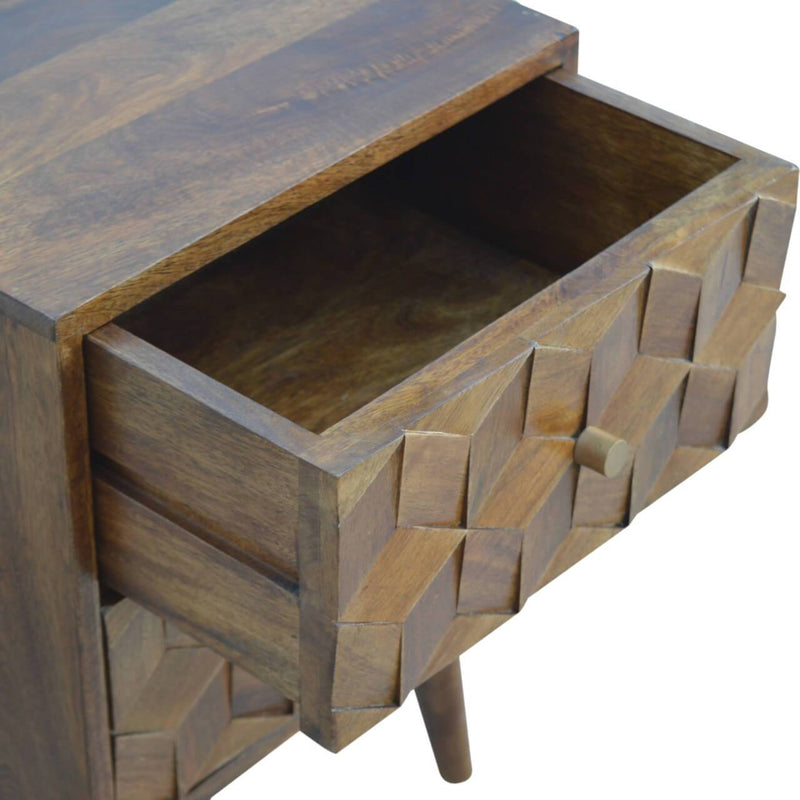 Cube Carved Handcrafted Bedside Table - HM_FURNITURE