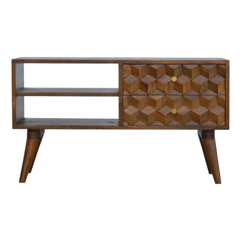 Handcrafted Media Unit With 2 Open Slots and 2 Drawers - HM_FURNITURE