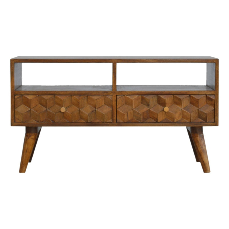 Handcrafted Cube Carved Media Unit With 2 Open Slots and 2 Drawers - HM_FURNITURE