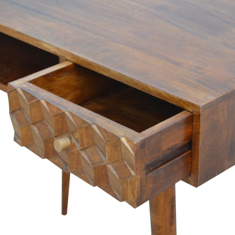 Handcrafted Chestnut Finish Desk Desk With 1 Drawer - HM_FURNITURE