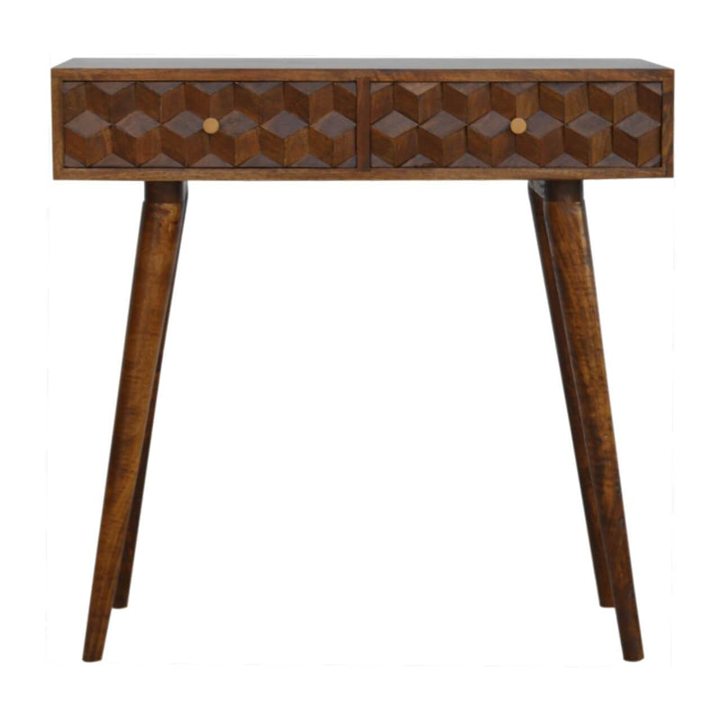 Handcrafted Chestnut Finish Console Table With 2 Drawers - HM_FURNITURE