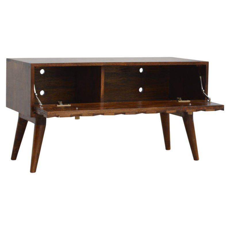 Chestnut Finish Storage Bench With 2 Compartments - HM_FURNITURE