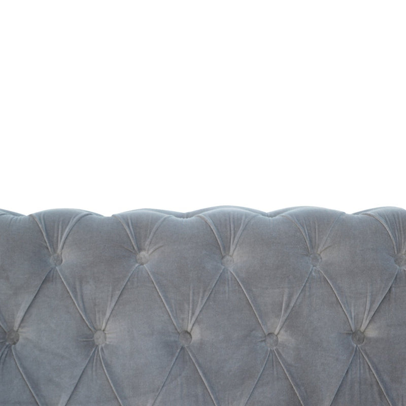 Handcrafted Grey Velvet Chesterfield Sofa - HM_FURNITURE