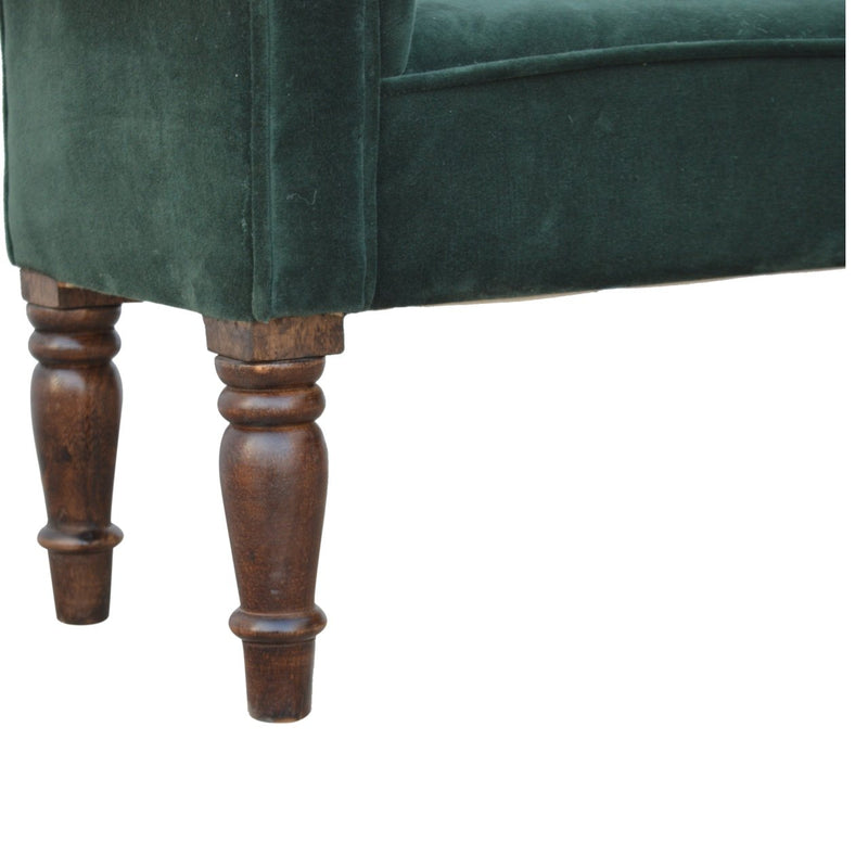 Handcrafted Green Velvet Bench With Turned Legs - HM_FURNITURE