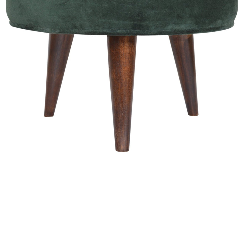 Handcrafted Emerald Green Foot Stool With Walnut Base - HM_FURNITURE