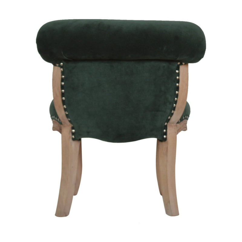 Handcrafted Emerald Green Velvet Accent Studded Chair - HM_FURNITURE