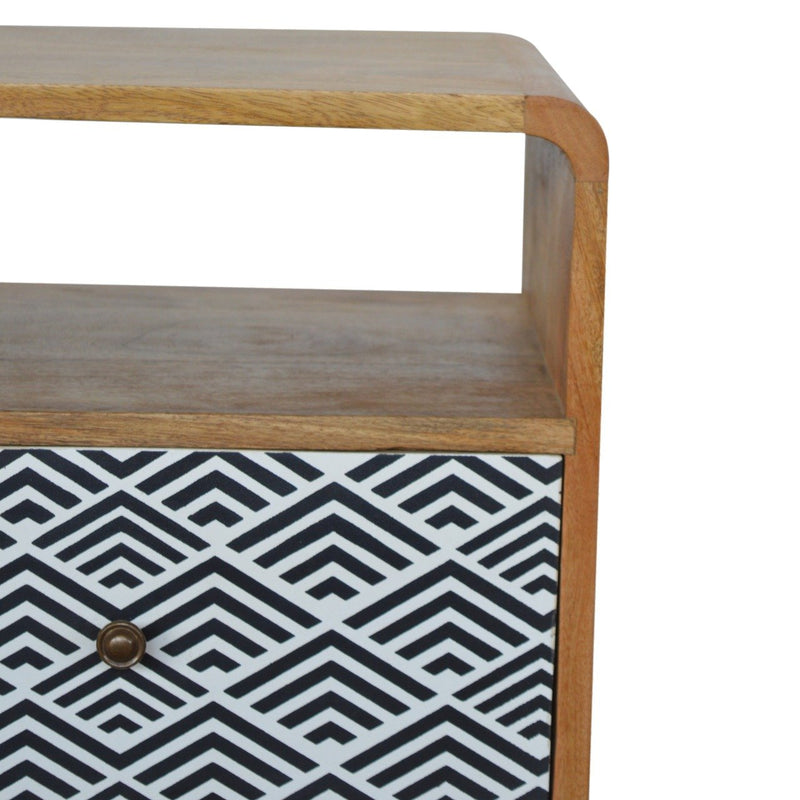Handcrafted Bedside Table With Open Slot and Monochrome Drawer - HM_FURNITURE