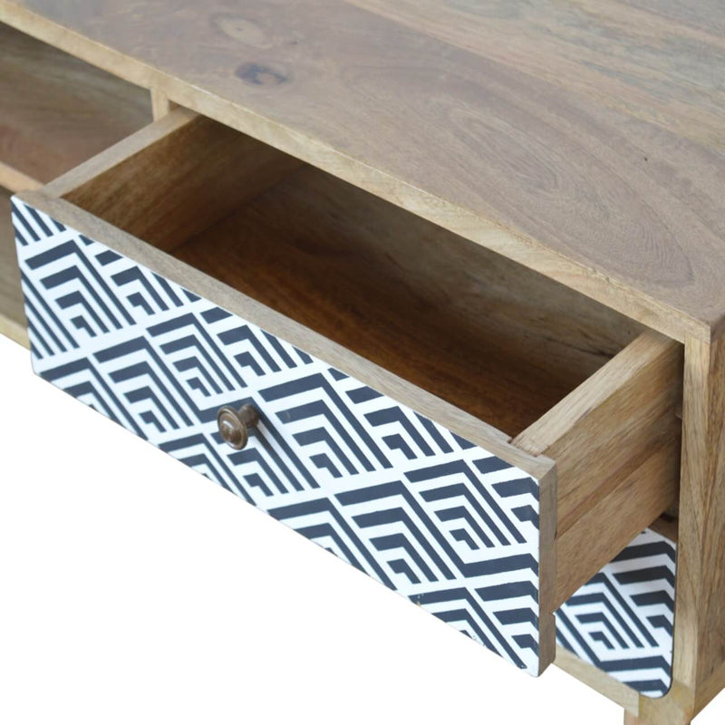 Handcrafted Monochrome Media Unit With 2 Drawers and 2 Open Slots - HM_FURNITURE
