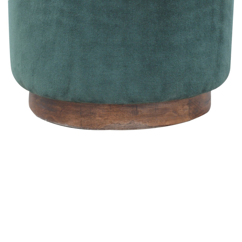 Handcrafted Emerald Green Velvet Foot Stool - HM_FURNITURE