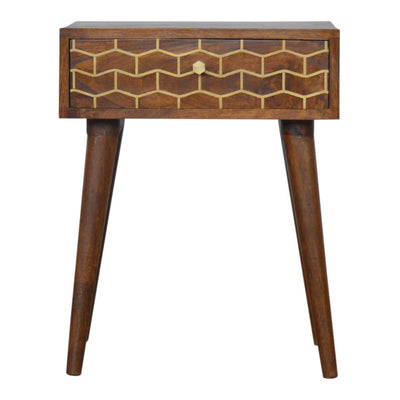 Handcrafted Bedside Table With Brass Inlay Goldline Drawers - HM_FURNITURE
