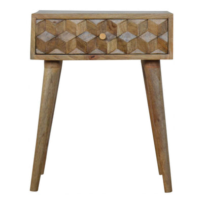 Handcrafted Cube Carved Bedside With 1 Drawer - HM_FURNITURE