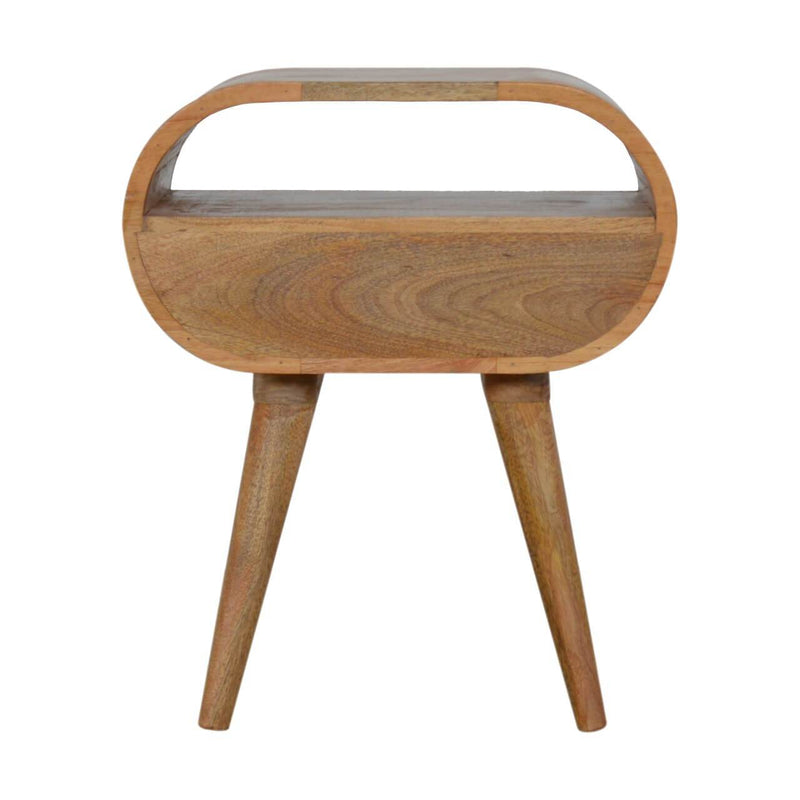 Handcrafted Circular Bedside With 1 Drawer - HM_FURNITURE