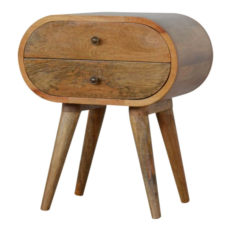 Handcrafted Circular Bedside Table With 2 Drawers - HM_FURNITURE