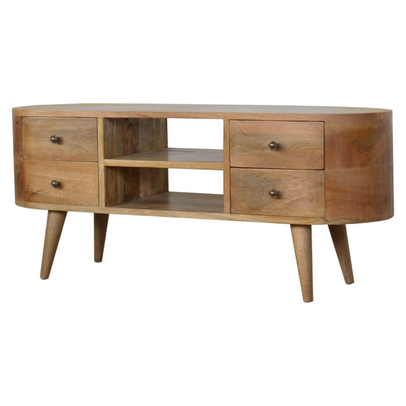 Handcrafted Round Media Unit With 4 Drawers and 2 Open Slots - HM_FURNITURE