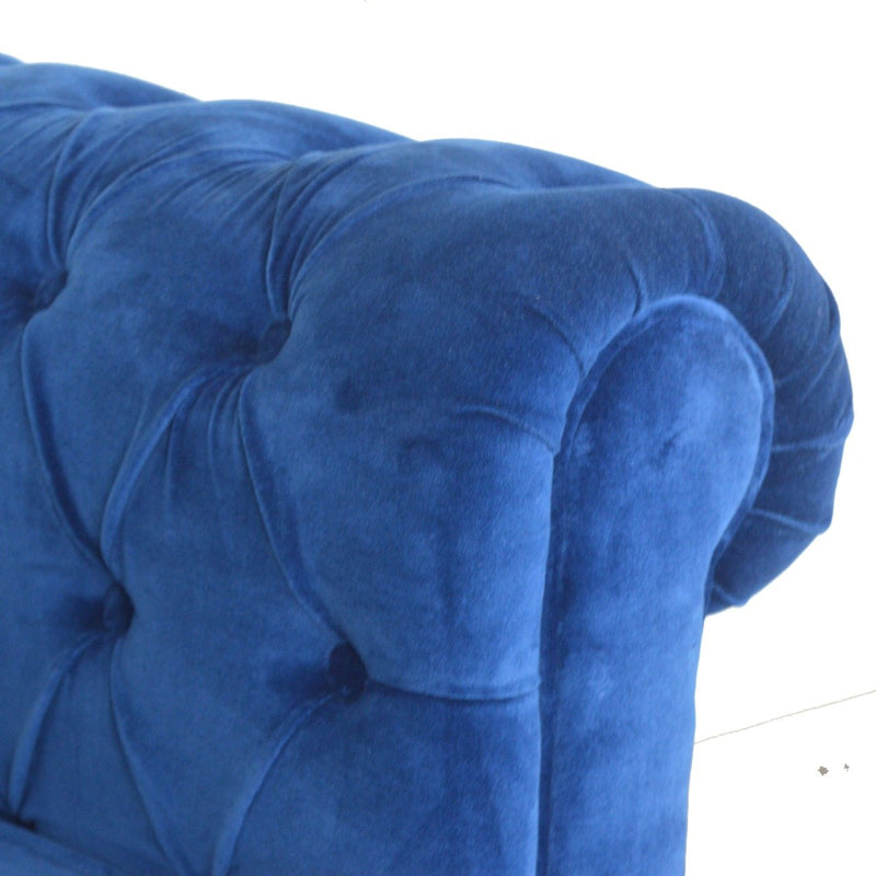 Handcrafted Blue Velvet Accent Sofa With Turned Legs - HM_FURNITURE
