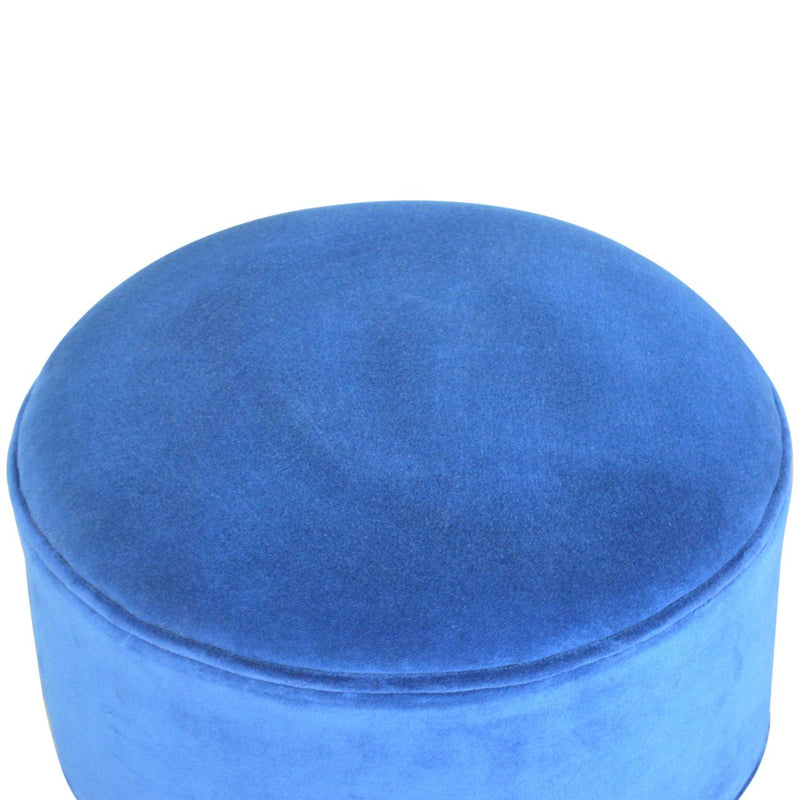 Solid Wood Blue Cotton Velvet Foot Stool - HM_FURNITURE