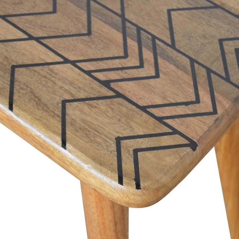 Handcrafted Bench With Aztec Resin Inlay - HM_FURNITURE