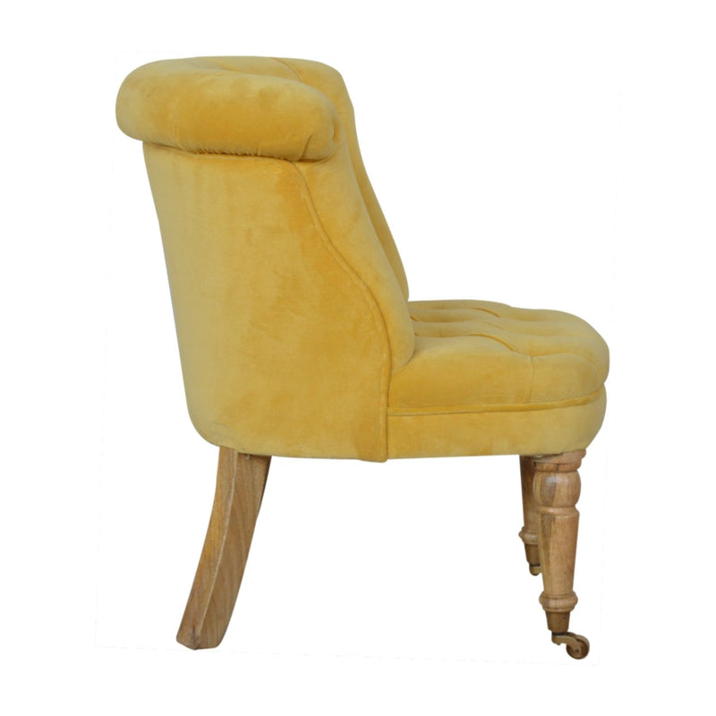 Handcrafted Mustard Velvet Accent Studded Chair - HM_FURNITURE