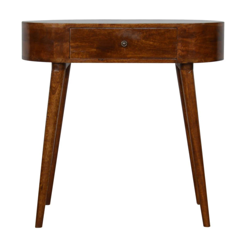 Handcrafted Chestnut Round Console Table - HM_FURNITURE