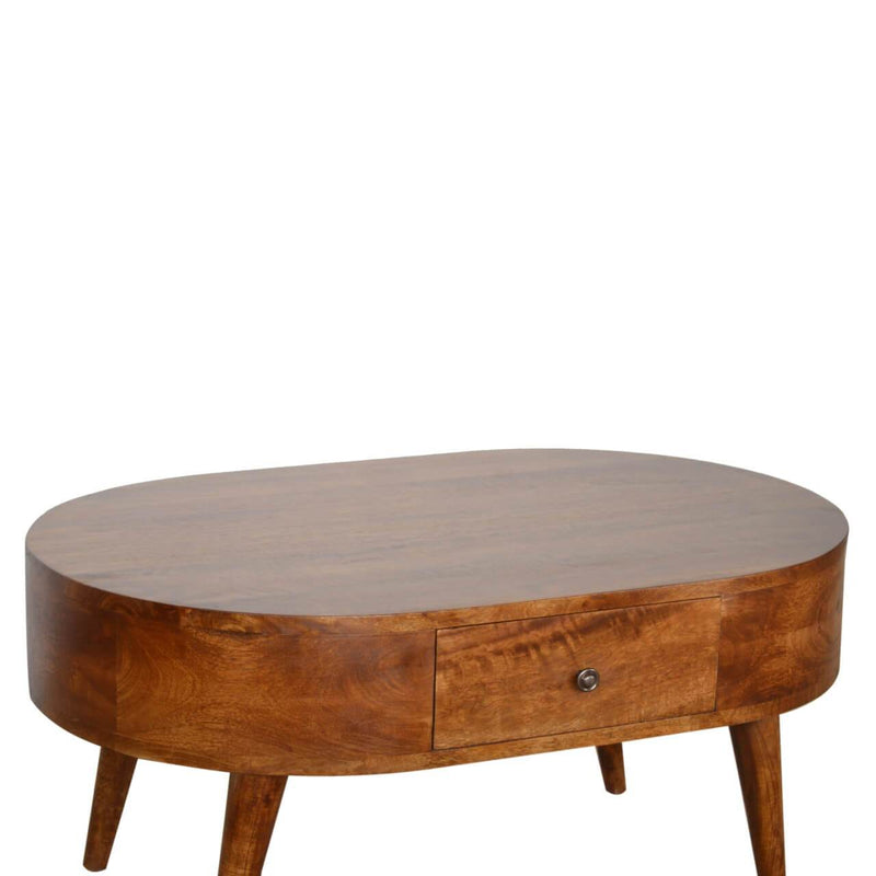 Handcrafted Round Coffee Table With 2 Drawers - HM_FURNITURE