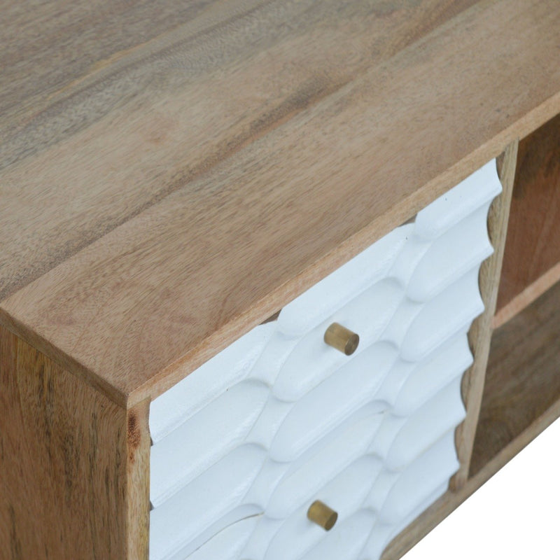 Handcrafted Capsule Style Carved Drawer Fronts Media Unit - HM_FURNITURE
