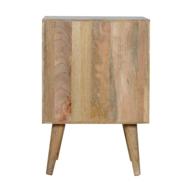 Handcrafted Bedside Table With With 1 Diamond Carved Door and 1 Drawer - HM_FURNITURE