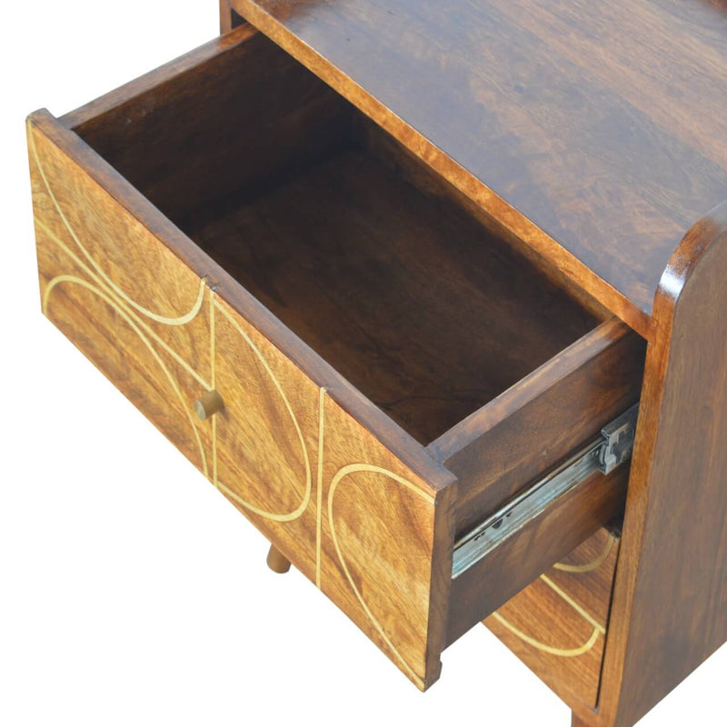 Handcrafted Bedside Table With Abstract Goldline Drawers - HM_FURNITURE
