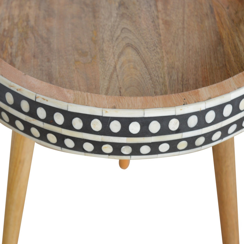 Bone Inlay Round End Table