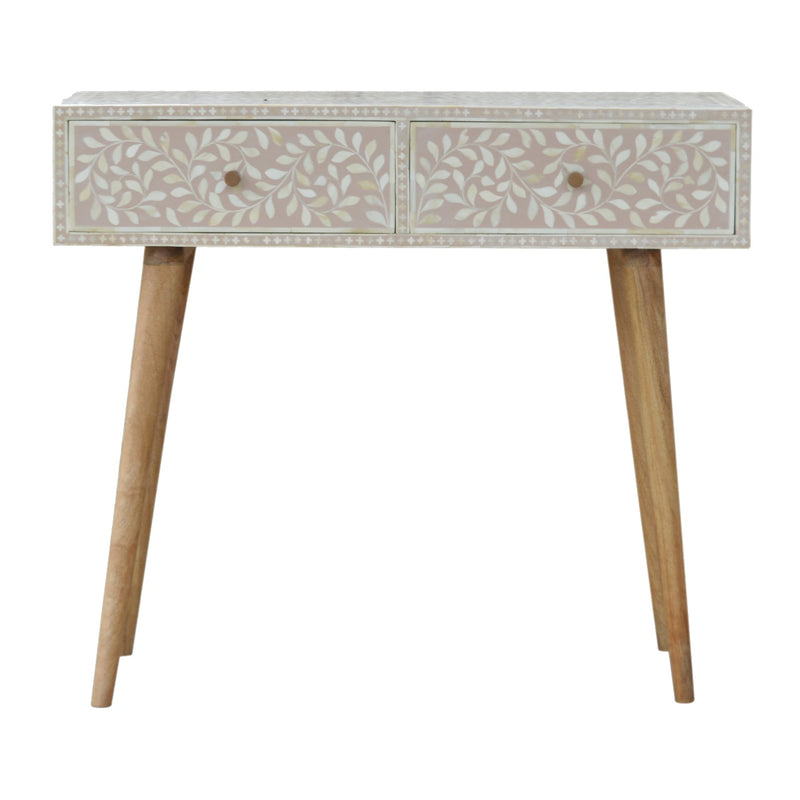Bone Inlay 2 Drawer Console Table