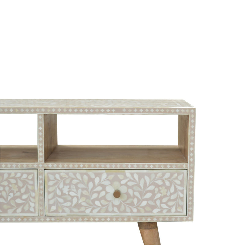 Light Taupe Bone Inlay 2 Drawers Media Unit