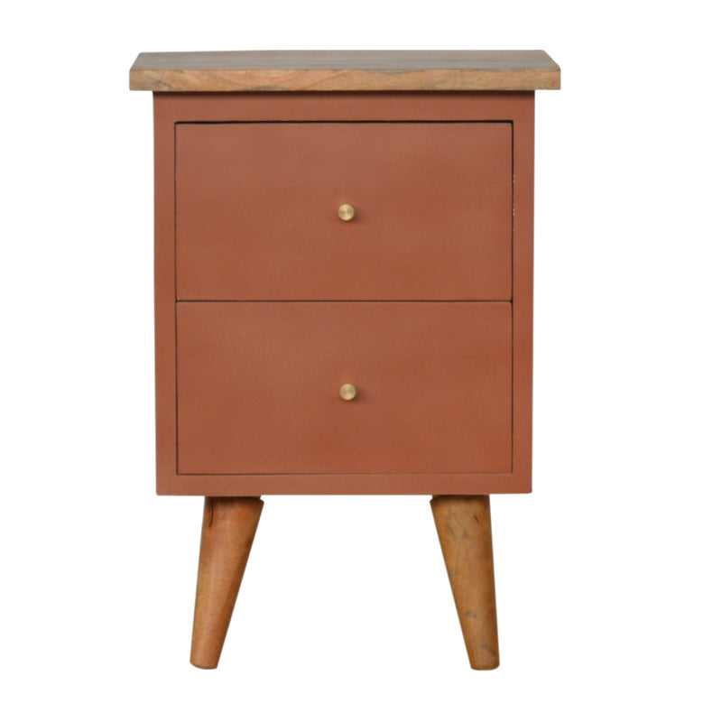 Handcrafted Solid Wood Rust Hand Painted Bedside