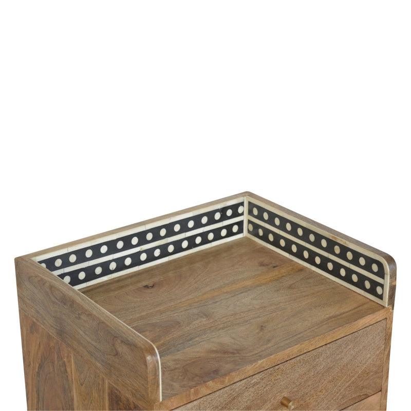 Bone Inlay 3 Drawers Bedside
