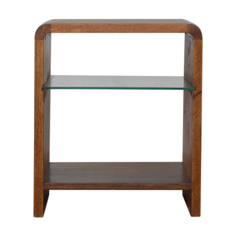 Daine - Bedside Table with Glass Shelf