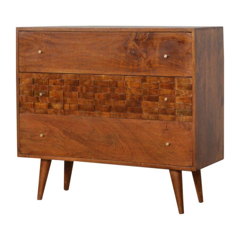 Duval - 3 Drawer Chest, Tile Carved