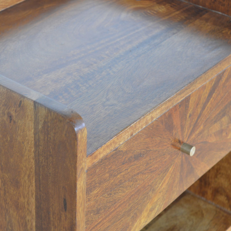 Handcrafted Solid Wood Sunrise Drawer Chestnut Finish Bedside