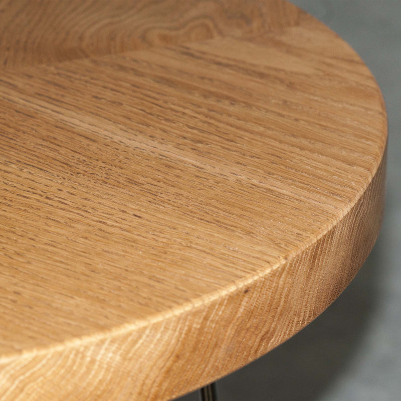 Oak Wood Round Coffee Table